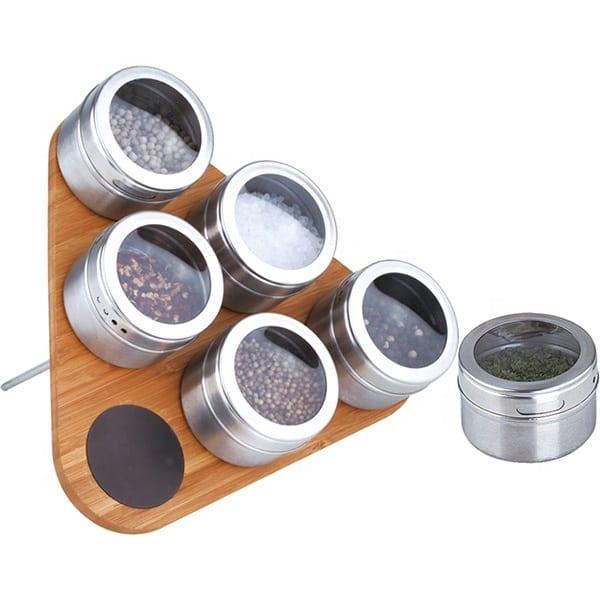 Magnetic 6ks z nerezové oceli Spice Jar Set s dřevěnými stojan