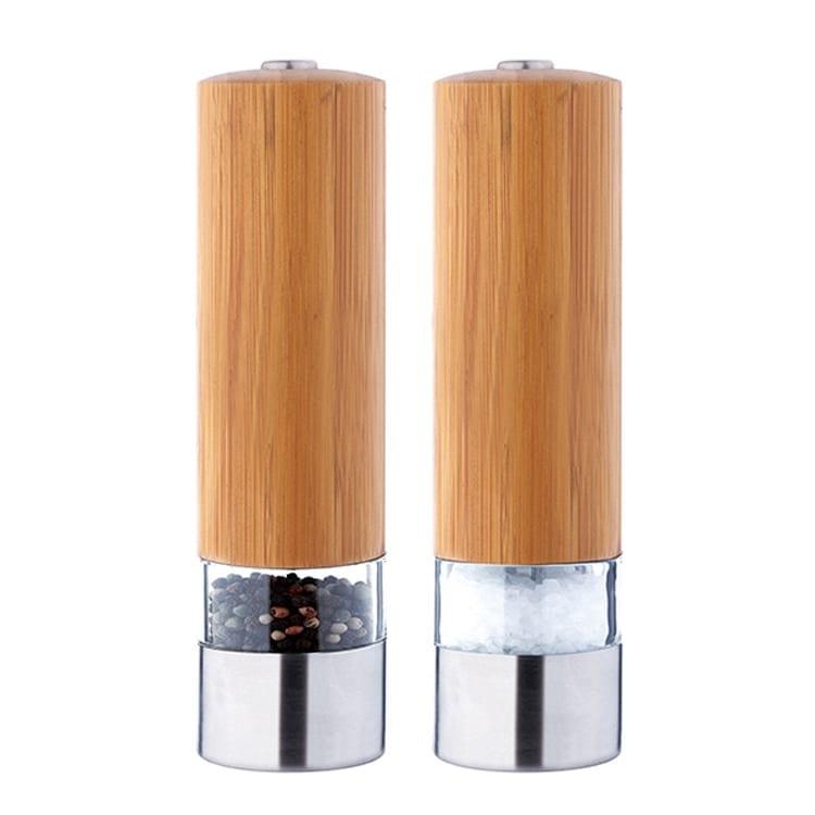 Automatic electric salt and pepper grinder set 9511 Bamboo Salt Grinder