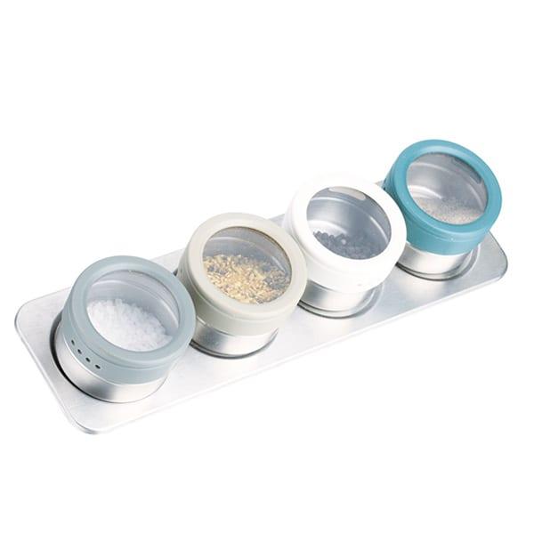4ks Brushed Chrome nerezová ocel Magnetic Spice Jar Set s podstavcem Byliny Spice Jack stojící